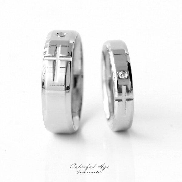 戒指 單鑽十字刻紋鋼製戒指【NC201】柒彩年代