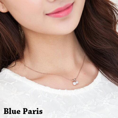 項鍊 - 韓版可愛櫻桃鑽石鎖骨鏈【21543】 藍色巴黎 - 現貨+預購  【防過敏】 0