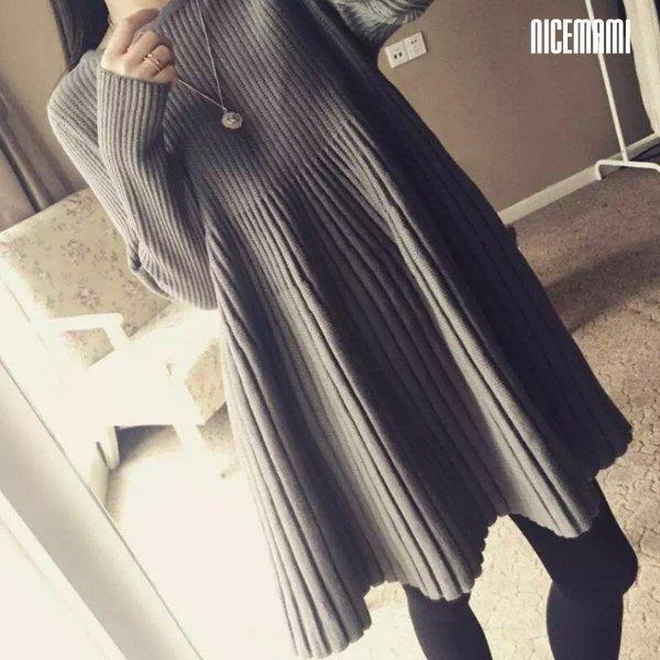 ~漂亮小媽咪~ 純色 傘狀 針織 毛衣 百褶 孕婦裝 孕婦連衣裙 娃娃裙 洋裝 D2106