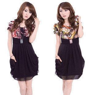 韓版短袖拼色拼接修身雪紡連衣裙子