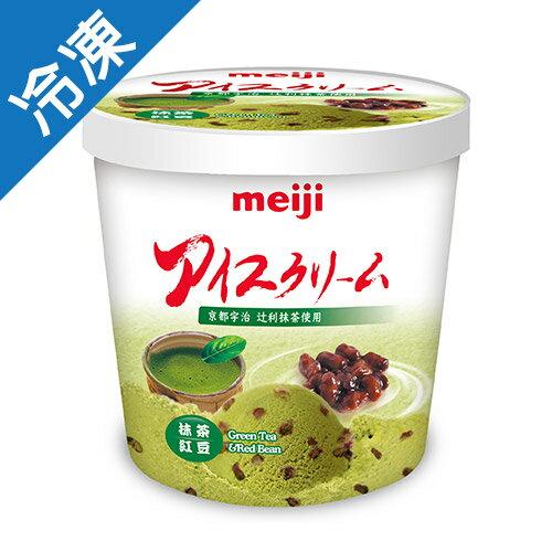 明治抹茶紅豆冰淇淋728G桶【愛買冷凍】