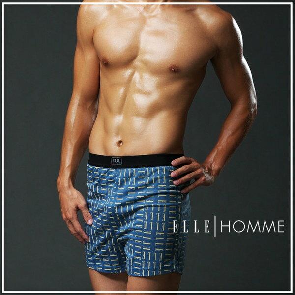 ELLE HOMME時尚印花平口褲/男內褲-藍《超值三件組》【中揚精品】E814