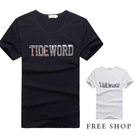 Free Shop~QR01036~美式休閒TIDEWORD燙印 文字圓領棉質短T短袖上衣