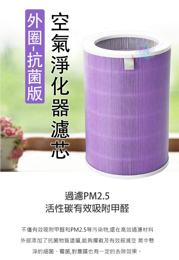 【尋寶趣】外圈-抗菌版 適用小米空氣淨化器濾芯 高效過濾 除PM2.5 除霉菌 濾網耗材 Top-136-O-At 6