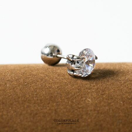 耳環 老鷹爪單鑽造型穿式貼耳白鋼耳針 簡約百搭單品 柒彩年代【ND241】鎖螺絲式固定不易掉