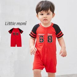 Little moni 棒球風連身褲-紅色