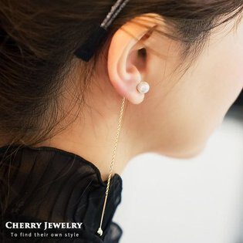 長款珍珠不對稱造型耳環【櫻桃飾品】【10341】