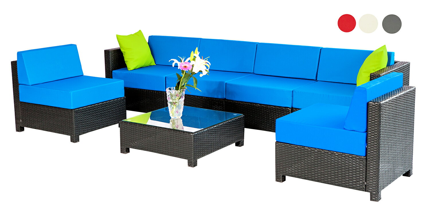 a095613f759b mcombo 7 PC Outdoor Garden Patio Wicker Rattan Furniture Sectional Aluminum  Frame Sofa-Blue