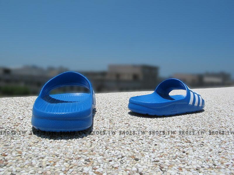 Shoestw【D67479】ADIDAS DURAMO K SLIDE 拖鞋 中童 一體成型 藍白 2