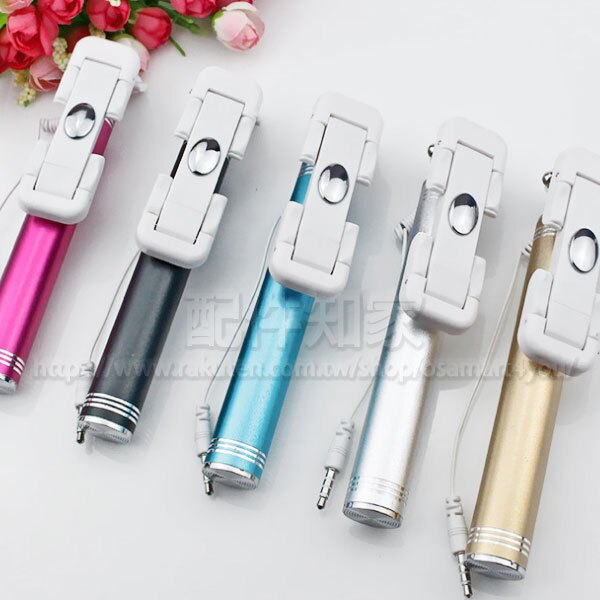 【磨砂金屬後視鏡自拍棒】iPhone 6/6 Plus 5/5s/SE SAMSUNG/Sony/小米/華為 線控/旋轉/手機插耳機孔線/伸縮-ZW