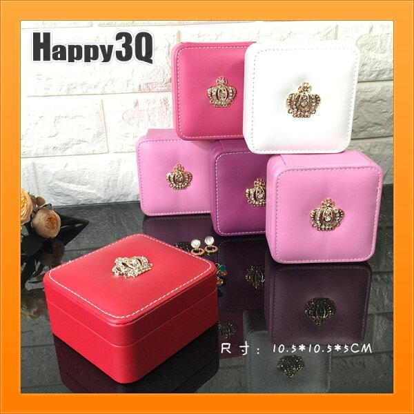首飾盒飾品盒隨身攜帶飾品盒小巧皇冠水鑽裝飾公主風-紅粉白桃紫粉白【AAA3815】