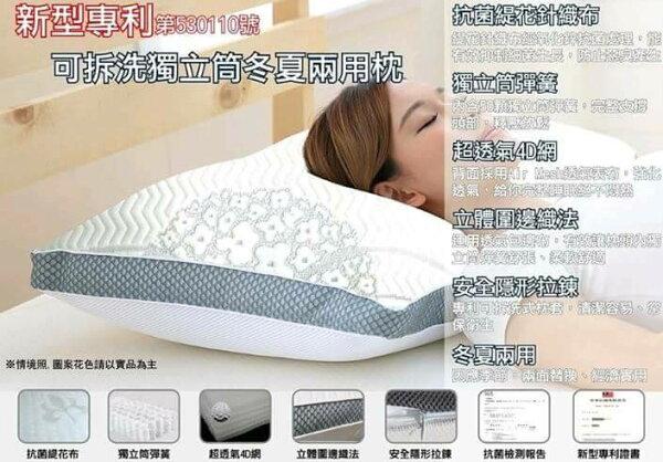 2入優惠【嫁妝寢具】專利3D編織超透氣釋壓獨立筒枕2入1500元(50顆獨立筒彈簧.)