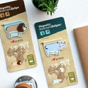 美麗大街【BF215E057】韓國創意文具非洲動物二合一迷你圓珠筆磁性書籤
