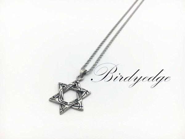 BIRDYEDGE經典麻花鋼肽項鍊六芒星星空星星品牌製作男女項鍊