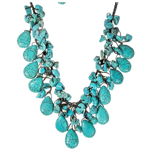 Pretty Turquoise Drop White Pearl Wax Rope Necklace 2