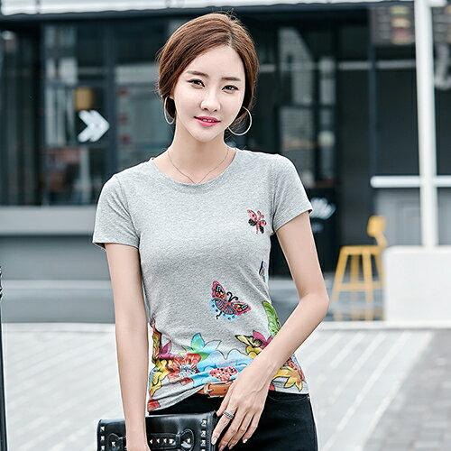 韓版修身印花釘珠大碼T恤(4色M~4XL)*ORead* 0