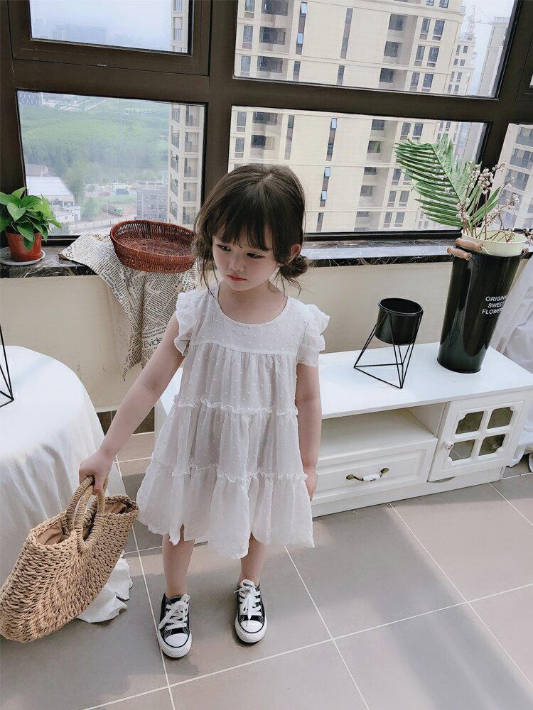 夏裝2019新款童裝兒童裙子 中小童無袖純色蛋糕連衣裙洋氣公主裙1入