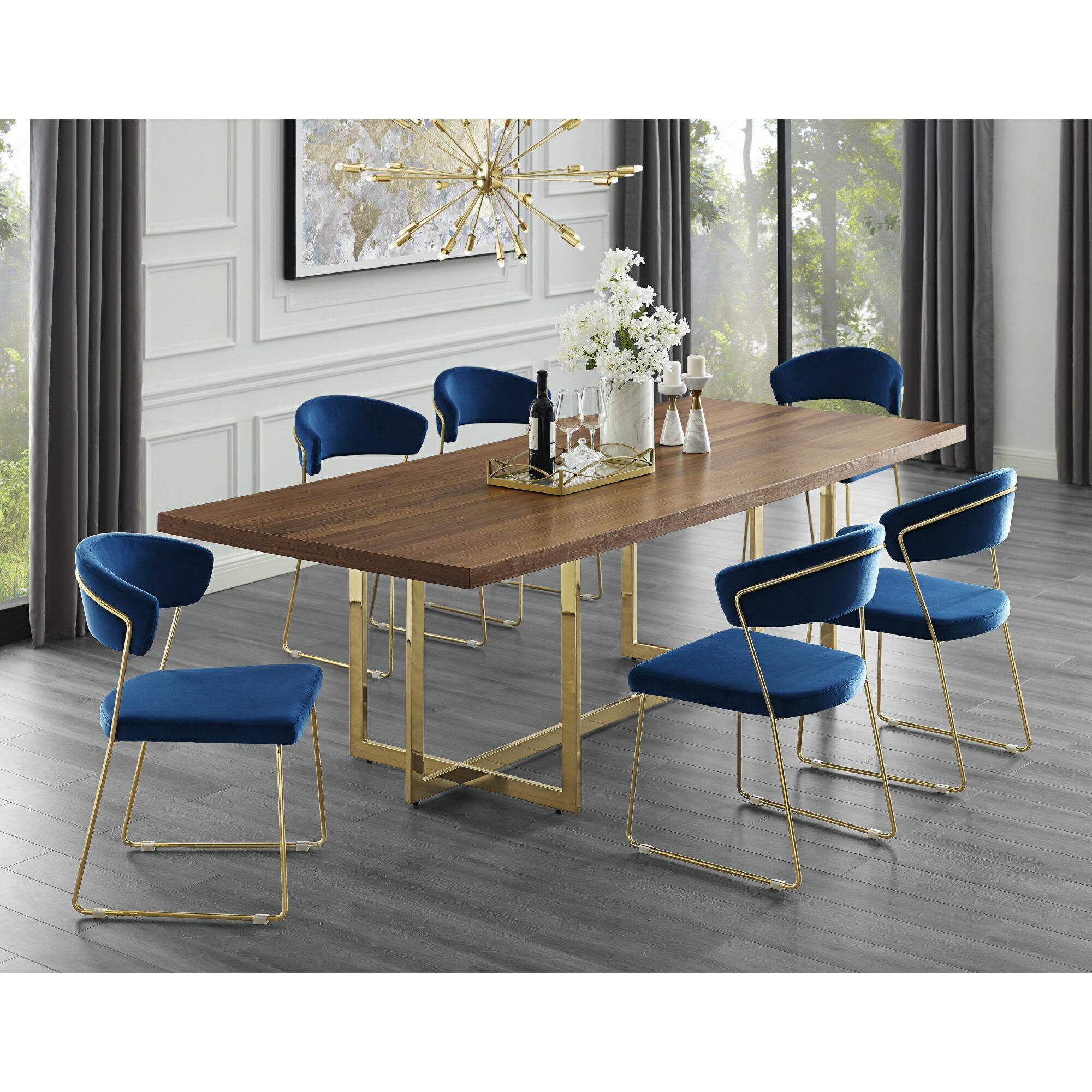 Leif Dining Table 70 94 In Wood Veneer Top Polished Metal Base