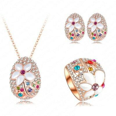 ~玫瑰金項鍊 附純銀戒指耳環 套裝 ~花朵 可愛七夕情人節生日 女飾品73bi1~ ~~米