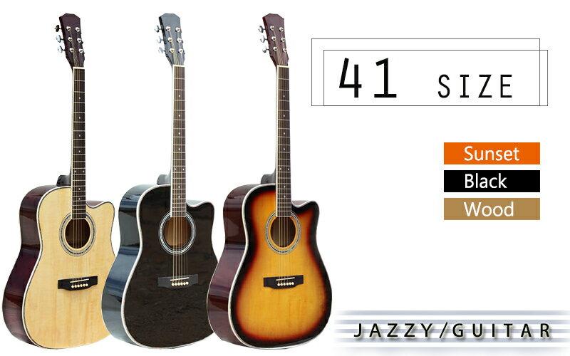 Jazzy 41吋 可調弦距 民謠吉他!贈琴袋+全配,鋼琴烤漆+玫瑰木好音色,初學吉他 木吉他 古典吉他