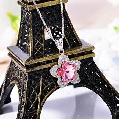 ~925純銀項鍊 水晶吊墜~ 細緻復古生日情人節 女飾品73fx17~ ~~米蘭 ~