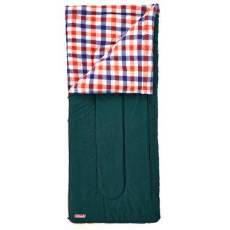 【露營趣】中和 附手電筒 Coleman 5℃紅格紋刷毛睡袋 信封型睡袋 化纖睡袋 纖維睡袋 可全開併接CM-26649