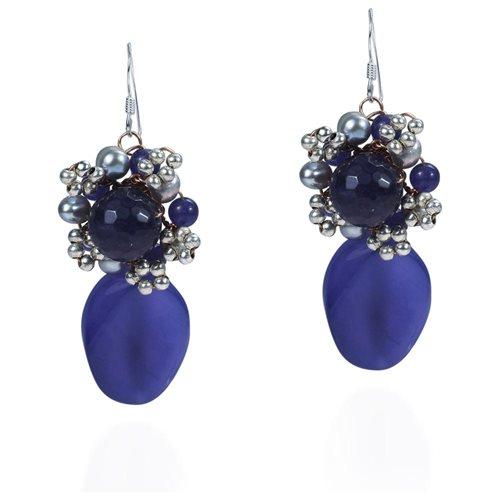 Drop Oval Purple Amethyst Pearl .925 Silver Earrings 0