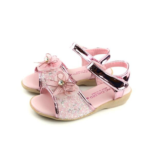 KINGCHILDED涼鞋蝴蝶結粉紅色中童童鞋no169