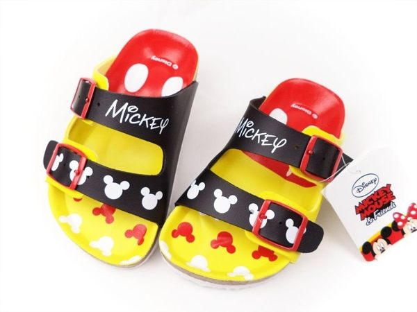 EMMA商城^~Disney迪士尼米奇 調整式氣墊兒童拖鞋.童鞋 黑黃15^~21號