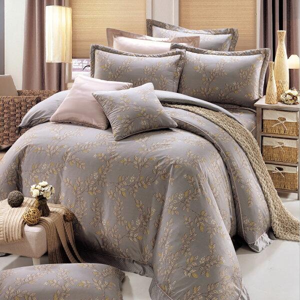 床罩組PIMA匹馬棉雙人400織七件式兩用被床罩組梅維斯灰[鴻宇]台灣製2055