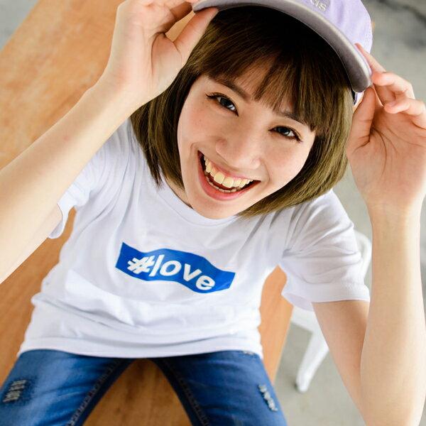 ◆快速出貨◆T恤.情侶裝.班服.MIT台灣製.獨家配對情侶裝.客製化.純棉短T.#love【Y0206】可單買.艾咪E舖 2