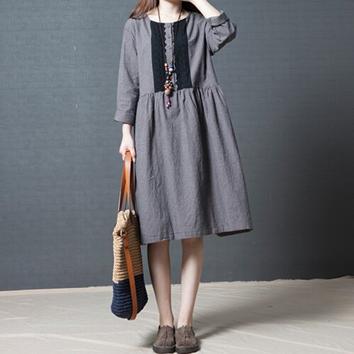 韓版時尚格子棉麻圓領連身裙(2色M~2XL) 【OREAD】 0