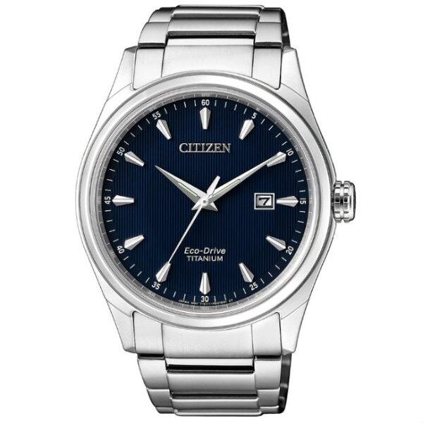 CITIZEN星辰錶BM7360-82L現代簡約光動能鈦金屬腕錶藍面41mm