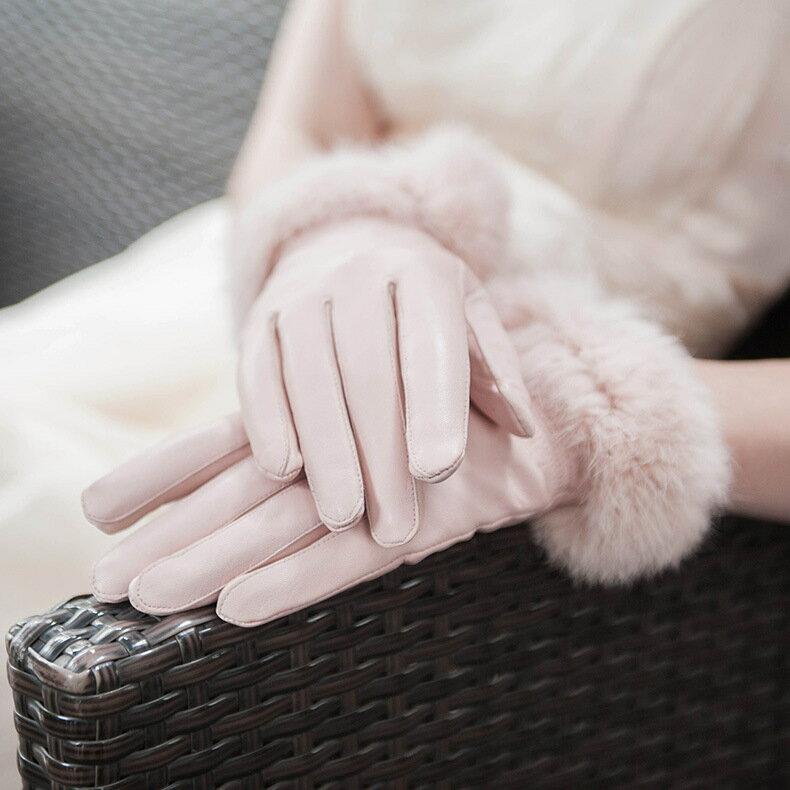 真皮手套保暖手套-羊皮加絨兔毛腕口女手套3色73wm61【獨家進口】【米蘭精品】 0