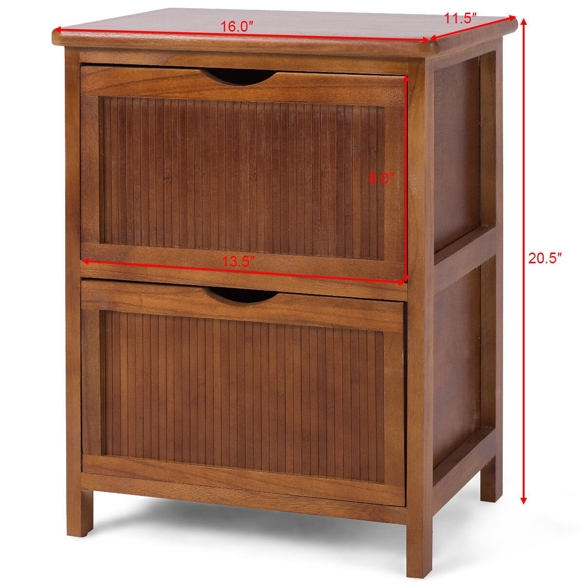 Costway 2 Drawers Nightstand Contemporary Vintage Bedside Table Solid Wood End Table