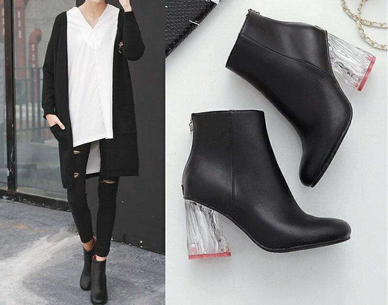 2016新款馬丁靴高跟拉鍊靴子水晶透明跟短靴女春秋及裸靴歐美街拍