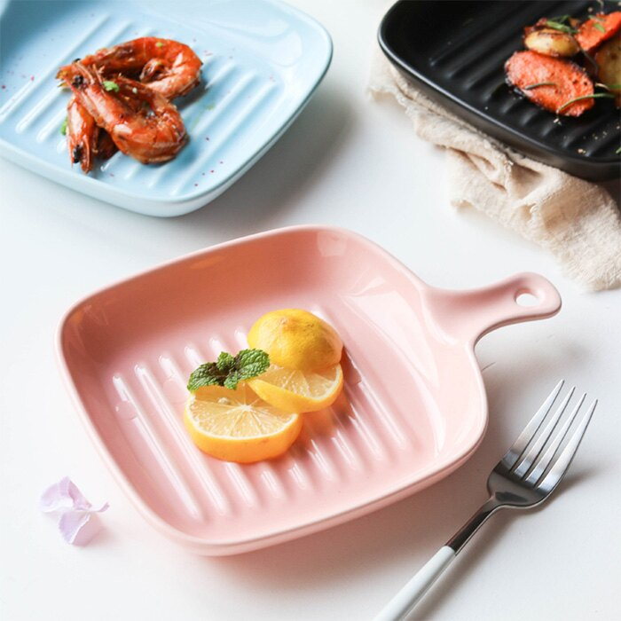 |現貨5折出清|北歐 簡約風仿牛排煎鍋單柄陶瓷方盤|4色|北歐風餐具|人氣款|