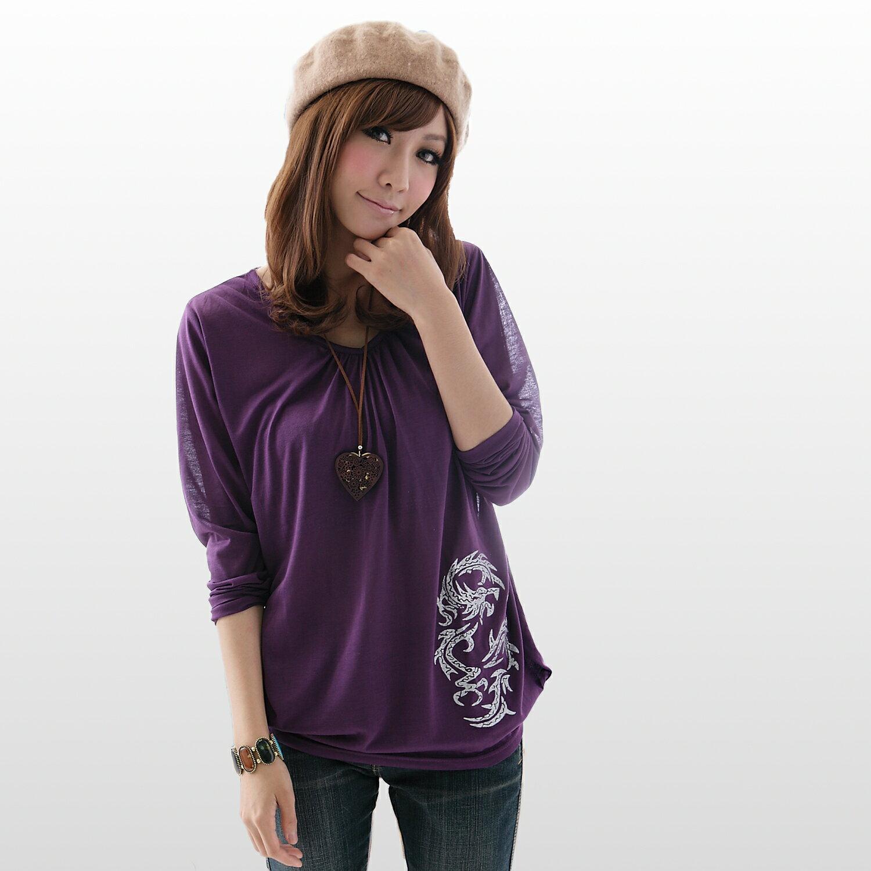 棉T--中國風的雅緻氣息-銀色枝葉寬版垂皺長袖上衣(黑.紫.灰S-XL)-X17眼圈熊中大尺碼 1