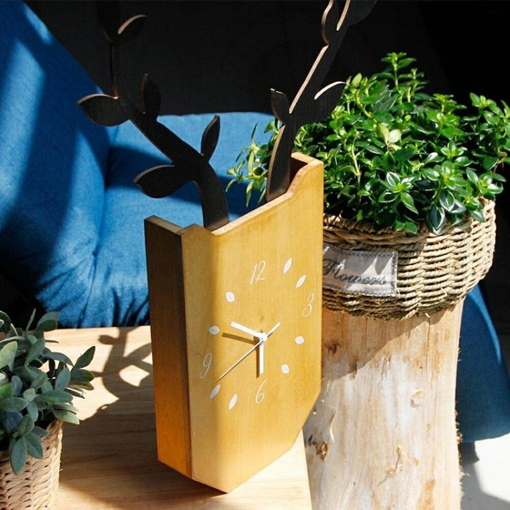 掛鐘創意鹿掛鐘 現客廳臥室靜音時鐘木質掛錶現代簡約家居壁掛    都市時尚DF