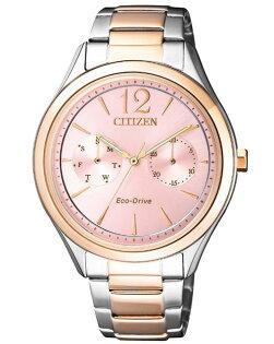 CITIZEN星辰錶FD4026-81X經典優雅光動能時尚腕錶玫瑰金+粉36mm