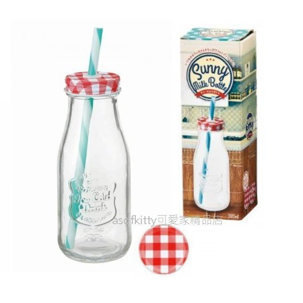 asdfkitty可愛家☆內海產業 牛奶瓶造型玻璃收納罐-附吸管-可當飲料瓶使用-日本正版商品