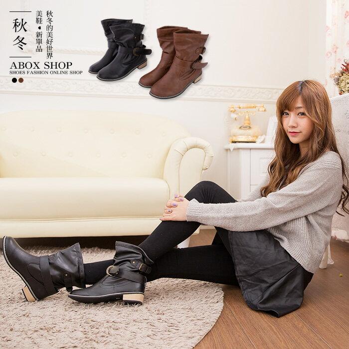 格子舖*【KS8809】ELVA兩穿百搭 可反摺皮革 皮帶扣環 金屬低跟短筒靴 兩色 1