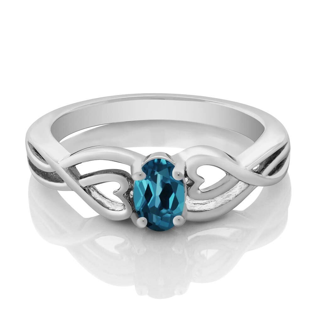 0.50 Ct Oval London Blue Topaz 925 Sterling Silver Ring 1