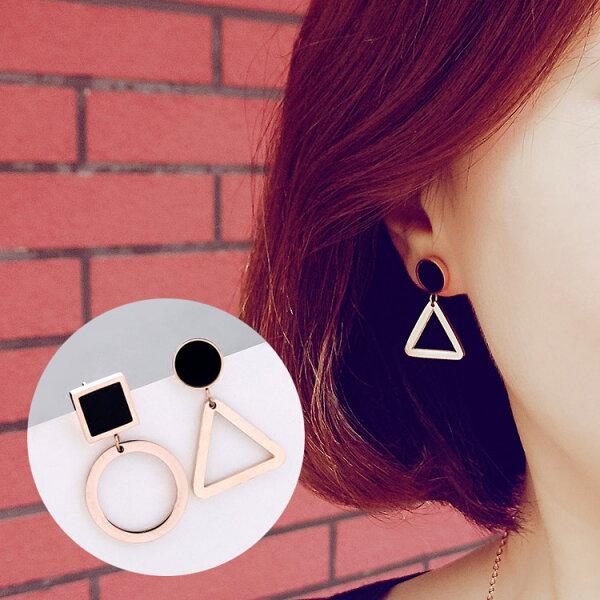 不對稱幾何鈦鋼耳環耳針MISA1115