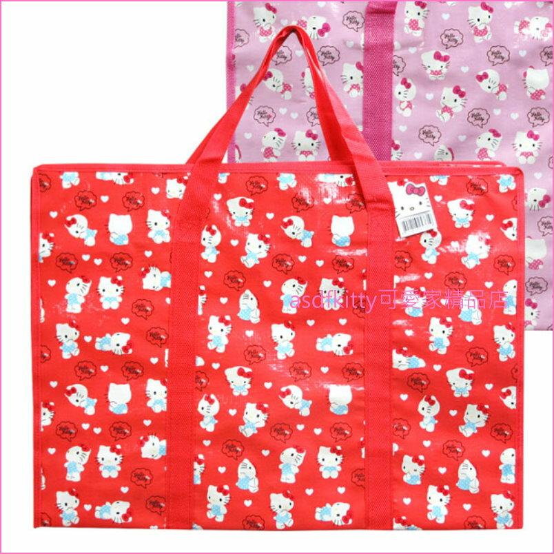 asdfkitty可愛家☆KITTY紅多人購物袋LL號-收納袋/輕量肩背包-幼兒園午睡棉被睡袋-韓國正版