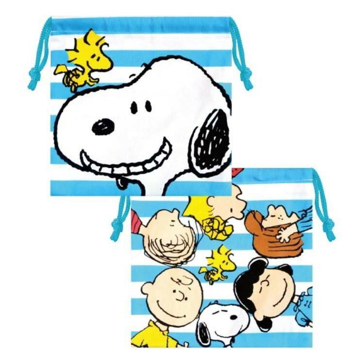 【真愛日本】18013000016 純棉束口袋-SN藍白紋 史努比 snoopy 史奴比 束口袋 收納包 化妝包