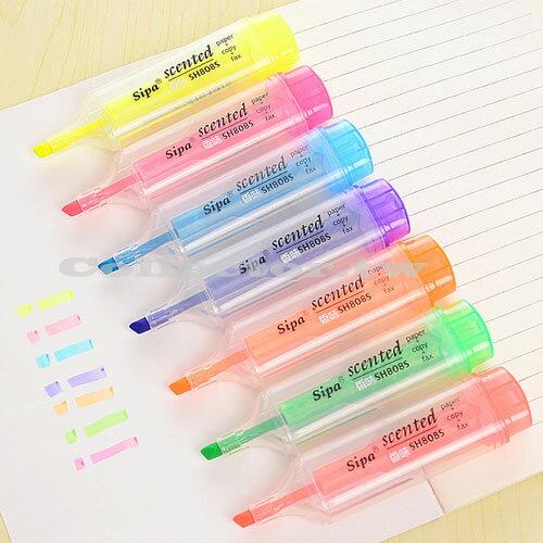 【L16091906】韓版創意文具 彩色香味糖果色螢光筆 記號筆 超大容量 淡淡清香 每色都不同哦~