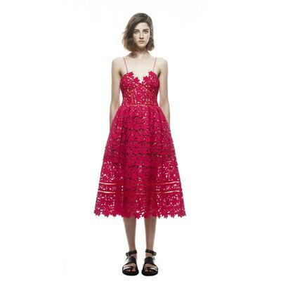 【米蘭秀】【奇珍館】:禮服細肩帶洋裝-紅色鏤空蕾絲露背女連身裙73pu82【獨家進口】【米蘭精品】