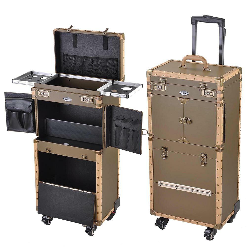 "AW® Pro XL 15"" x 10"" x 29"" Rolling Makeup Stylist Train Case Hair Salon Clipper Trimmer Bronze Box 0"