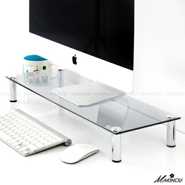 螢幕架 │日本MAKINOU強化玻璃5MM款桌上架-透灰│萬用架 置物架 鍵盤收納架 牧野丁丁